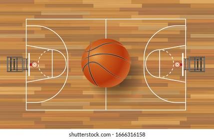 Basketball ball on basketball field background. Basketball court on top. Vector illustration.
