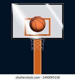 Basketball ball on a basketball hoop over a dark colored background - Vector
