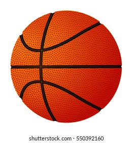 Basketball ball over white background. Vector illustration, isolated on white