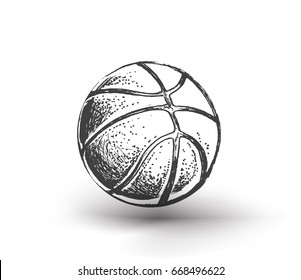 Basketball ball over white background. Basketball isolated, Hand Drawn Sketch Vector illustration.