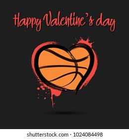Basketball ball shaped as a heart. Happy Valentines Day. Vector illustration