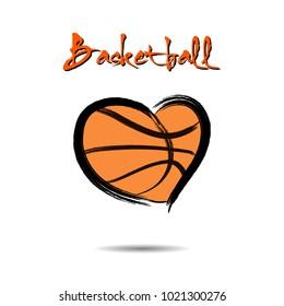 Basketball ball shaped as a heart. Vector illustration