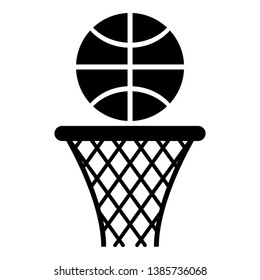 Basketball basket and ball Hoop net and ball icon black color vector illustration flat style simple image