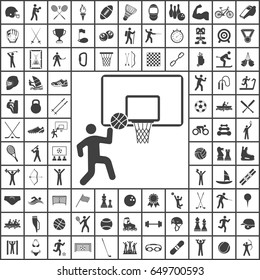 Basketball basket and ball Icon. Sport set of icons