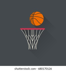 Basketball basket with a ball. Basketball net. Sport design.