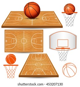 Basketball basket, hoop, ball, fields isolated on white background. Vector illustration