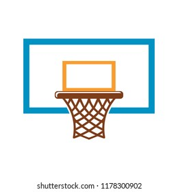 Basketball basket, basketball hoop isolated on white background. Vector illustration