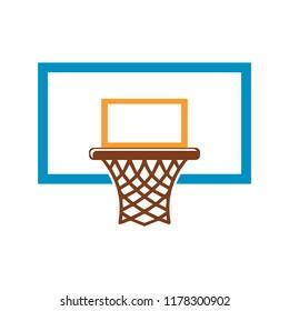 Basketball basket, basketball hoop isolated on white background. Vector illustration