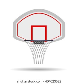 Basketball basket, basketball hoop isolated on white background. Vector illustration.