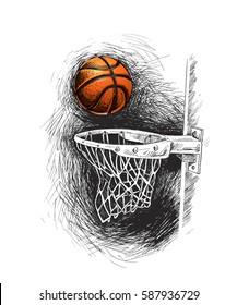 Basketball basket shot, hoop, game, Hand Drawn Sketch Vector illustration.