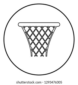 Basketball basket Streetball net basket icon black color outline vector illustration flat style simple image in circle round