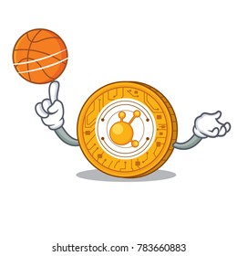 With basketball BitConnect coin character cartoon