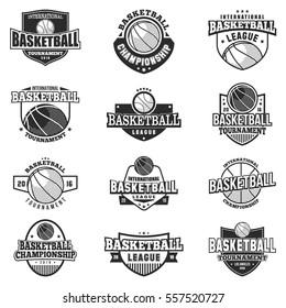 Basketball black monochrome badges set. Retro collection of monochrome basketball design elements, logo and emblems. Vector illustration.