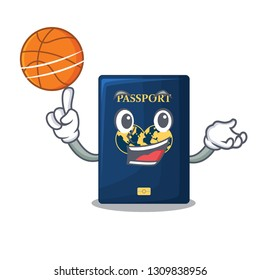 With basketball blue passport in the cartoon form