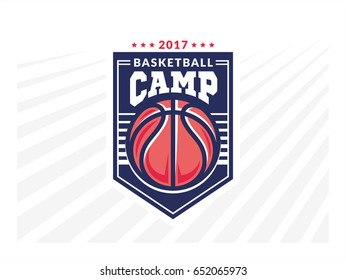 Basketball camp logo, emblem, designs with basketball ball and shield on a light background