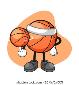 Basketball cartoon character spin a basketball