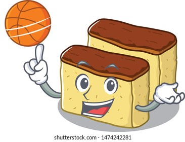With basketball castella cake isolated in the cartoon