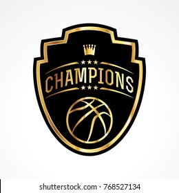 A basketball champions badge emblem illustration. Vector EPS 10 available.