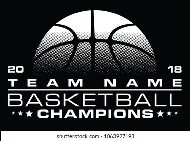 Basketball Champions Design With Team Name is an illustration of a stylized one color basketball design