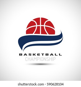 Basketball Championship Logo. Basketball icon Vector Illustration. Sport Poster Concept.