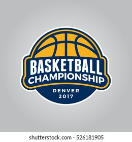 basketball championship logo. modern sport emblem. vector illustration