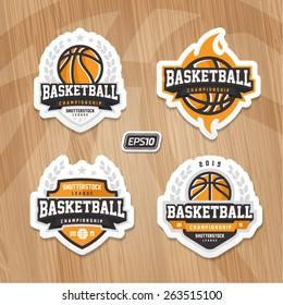 Basketball championship logo set on wooden texture