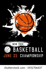 Basketball championship sport league vector flyer, invitation on tournament vintage grunge poster with ball and grunge spot. New York league, college game, championship or competition invite card