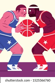 Basketball clash of champions is a vector illustration about competition and sport