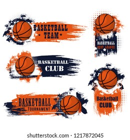 Basketball club icons for college league championship or university players tournament match. Vector symbols of basketball ball for goal with stars and cup on grunge orange