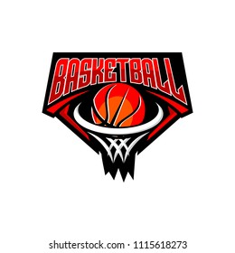 Basketball club logo, emblem, designs with ball. Sport badge vector illustration