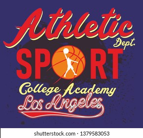 Basketball and college graphic design vector art