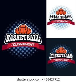 Basketball color tournament logo label in vintage style with half tone background - stock vector