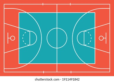 Basketball colorful court. Top view arena. Flat design. Vector illustration.