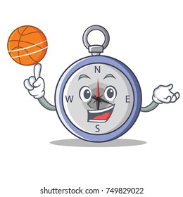 With basketball compass character cartoon style