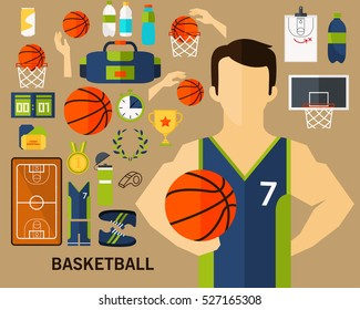 basketball concept background. Flat icons.