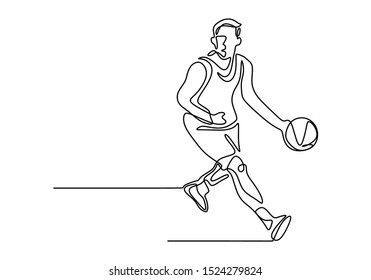 Basketball continuous one line drawing vector illustration. Athlete player dribbling a ball on the game play.
