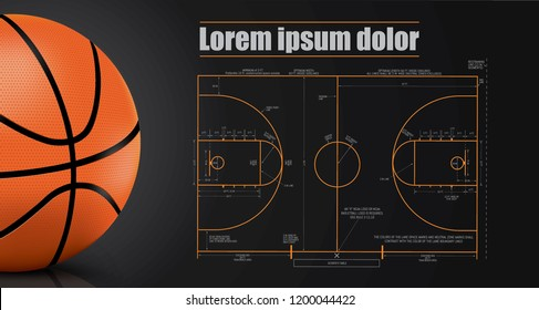 Basketball court details with Black background
