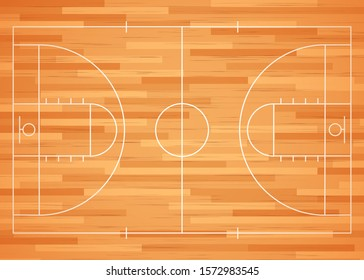 Basketball court floor with line. Vector illustration