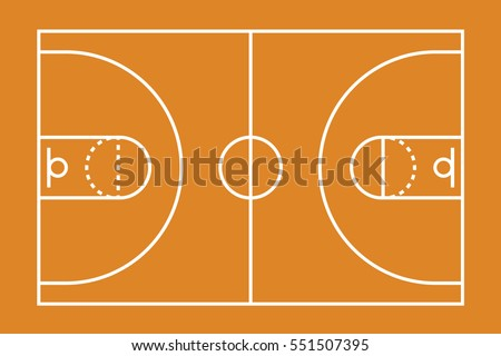 A Basketball court illustration with lines
