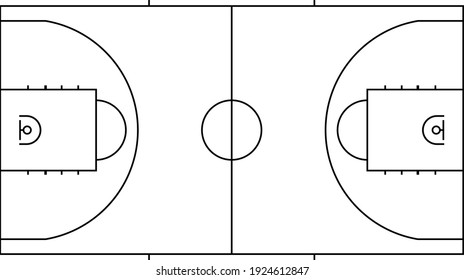 Basketball court isolated vector illustration.