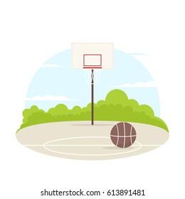 basketball court outdoor. vector illustration