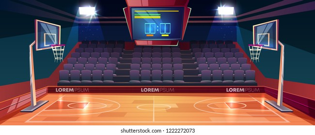 Basketball court with wooden floor, scoreboard on ceiling and empty fan sector seats cartoon vector illustration. Modern indoor stadium illuminated with spotlights. Sports arena or hall for team games
