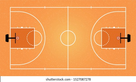 The basketball court.A simulated basketball court with the same ratio as the court.