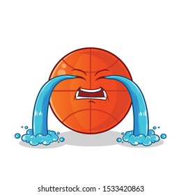 basketball cute chibi cry mascot vector cartoon illustration