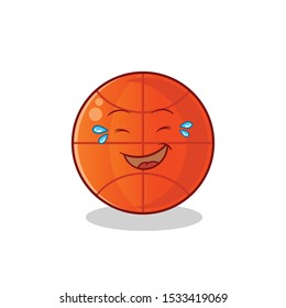 basketball cute chibi laughing loudly mascot vector cartoon art illustration