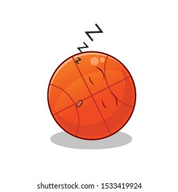 basketball cute chibi sleep mascot vector cartoon illustration