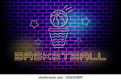 Basketball design in neon light text style.Neon Text Design template.Light Banner,background,web,page,invitation,card,brochure.Vector Illustration.