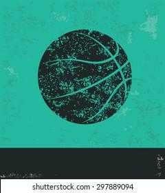 Basketball design on green background,grunge vector