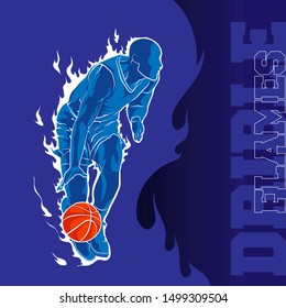 basketball dribble flame silhouette background