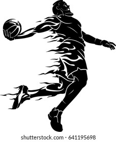 Basketball Dunk Bearded Player Abstract Flame